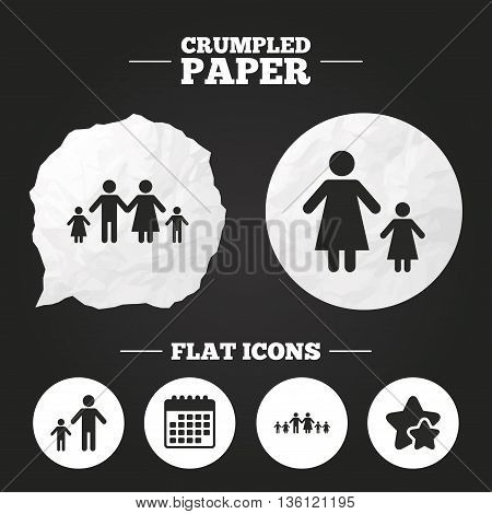 Crumpled paper speech bubble. Large family with children icon. Parents and kids symbols. One-parent family signs. Mother and father divorce. Paper button. Vector