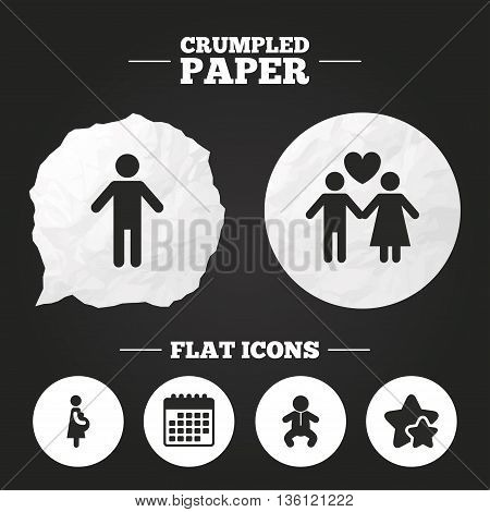 Crumpled paper speech bubble. Family lifetime icons. Couple love, pregnancy and birth of a child symbols. Human male person sign. Paper button. Vector