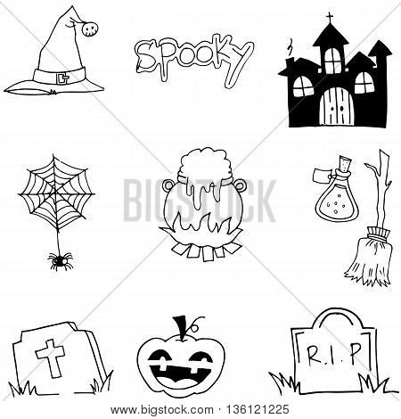 Tomb pumpkins broom element halloween doodle vector art