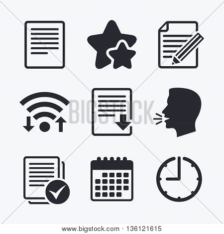 File document icons. Download file symbol. Edit content with pencil sign. Select file with checkbox. Wifi internet, favorite stars, calendar and clock. Talking head. Vector