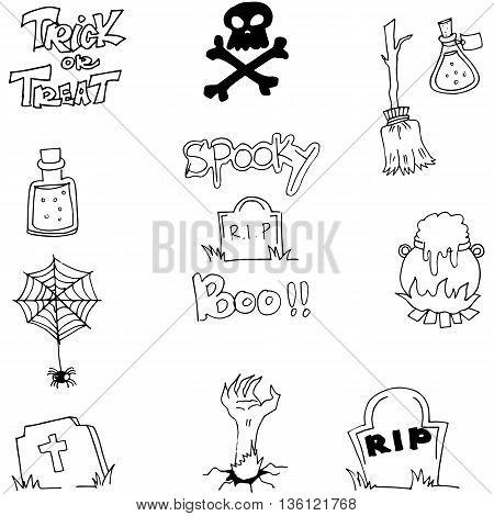 Halloween doodle element zombie tomb vector illustration