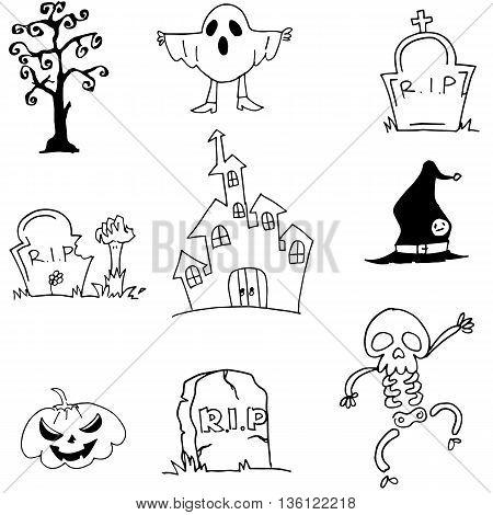 Castle ghost pumpkins tomb doodle Halloween illustration