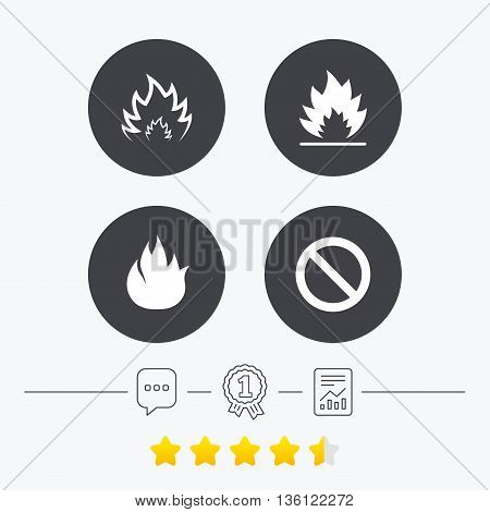 Fire flame icons. Prohibition stop sign symbol. Chat, award medal and report linear icons. Star vote ranking. Vector