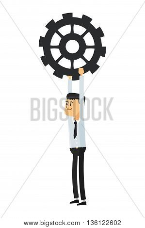 flat design man holding gear icon vector illustration