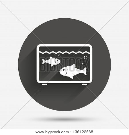 Aquarium sign icon. Fish in water symbol. Circle flat button with shadow. Vector