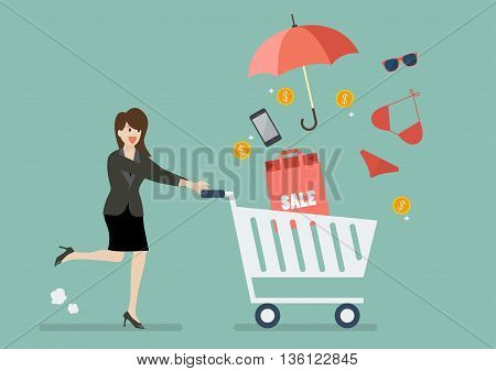 Business woman add clothing and accessories into cart. Shopping concept