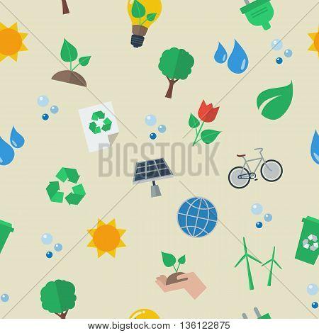 Seamless eco flat icon pattern. Vector illustration