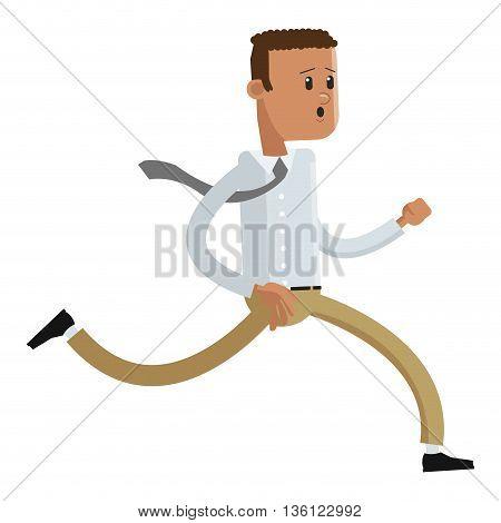 flat design dark skinned office worker running vector illustration