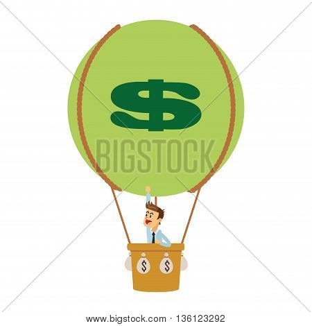 flat design business man on hot air balloon with money icon vector illustration