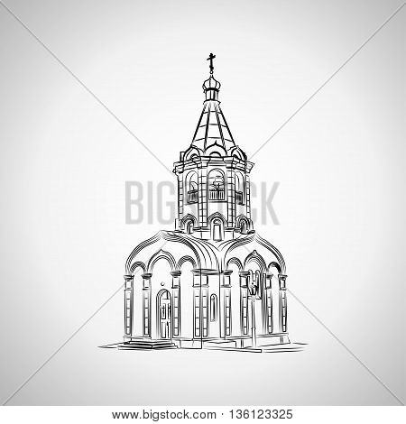 Sketch of the Christian chapel on a light background. Vector illustration.