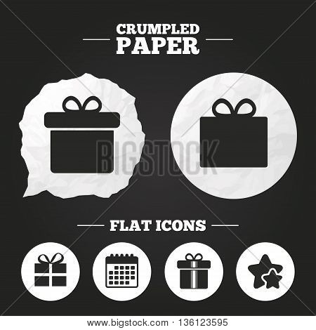 Crumpled paper speech bubble. Gift box sign icons. Present with bow and ribbons sign symbols. Paper button. Vector