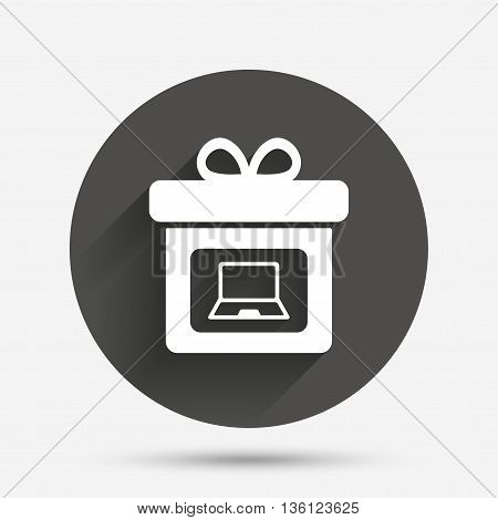 Gift box sign icon. Present with notebook pc symbol. Circle flat button with shadow. Vector