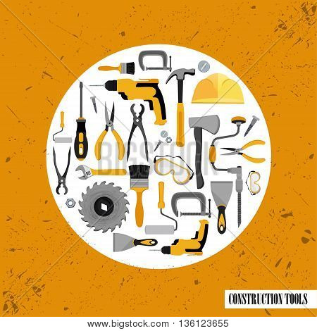 Construction tools set . Vector illustration of Construction tools