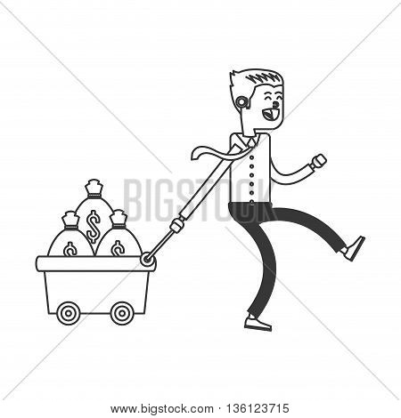 simple black line business man with money icon vector illustration