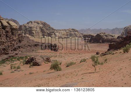 Nature, Desert And Rocks Of Wadi Rum (valley Of The Moon), Jordan. Unesco World Heritage.