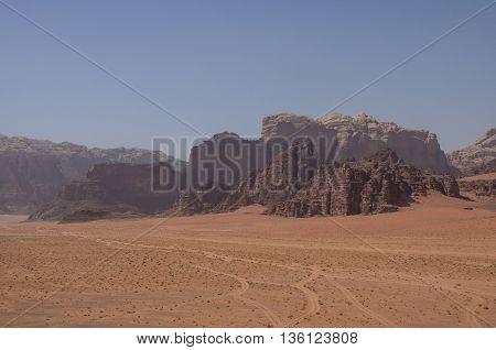View of Nature desert and rocks of Wadi Rum (Valley of the Moon) from sand dune Jordan. UNESCO World Heritage.