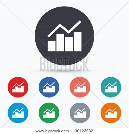 Graph chart sign icon. Diagram symbol. Flat graph chart icon. Simple design graph chart symbol. Graph chart graphic element. Circle buttons with graph chart icon. Vector