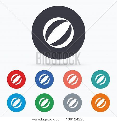 Beach ball sign icon. Water ball. Flat beach ball icon. Simple design beach ball symbol. Beach ball graphic element. Circle buttons with beach ball icon. Vector