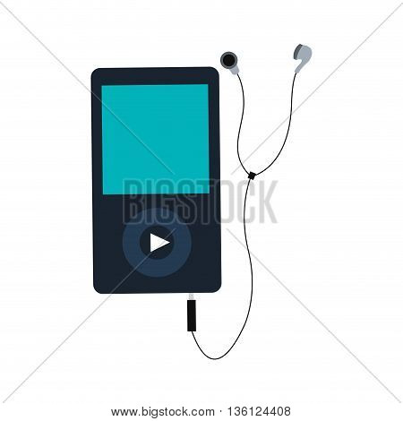 simple flat design portable music device with earphones vector illustration