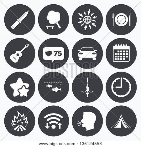Calendar, wifi and clock symbols. Like counter, stars symbols. Hike trip, camping icons. Fishing, campfire and tourist tent signs. Guitar music, knife and food symbols. Talking head, go to web symbols. Vector
