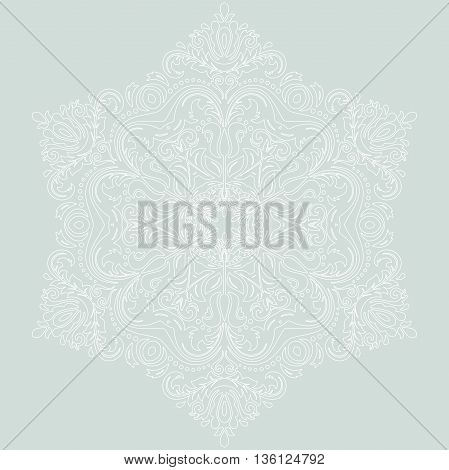 Oriental pattern with arabesques and floral elements. Traditional classic ornament with white outlines