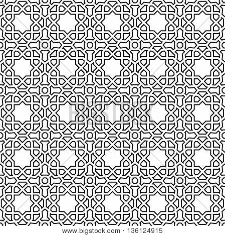 Seamless black and white ornament. Modern geometric pattern with repeating elements