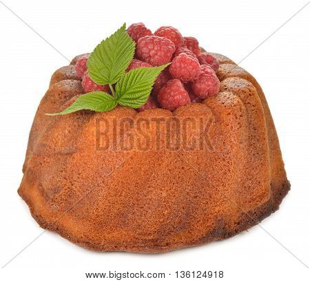Cake with raspberries isolated on white background