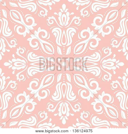 Oriental classic pink and white ornament. Seamless abstract background