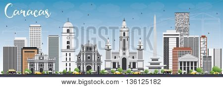 Caracas Skyline with Gray Buildings and Blue Sky. Business Travel and Tourism Concept with Historic Buildings. Image for Presentation Banner Placard and Web Site.