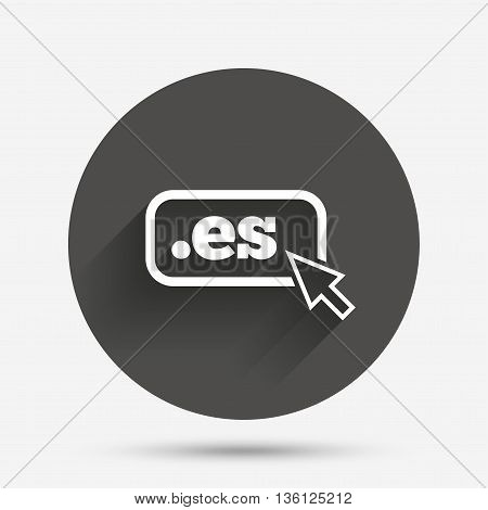 Domain ES sign icon. Top-level internet domain symbol with cursor pointer. Circle flat button with shadow. Vector