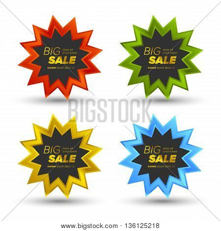 Colorful Vector Big Sale Tags In shiny stars