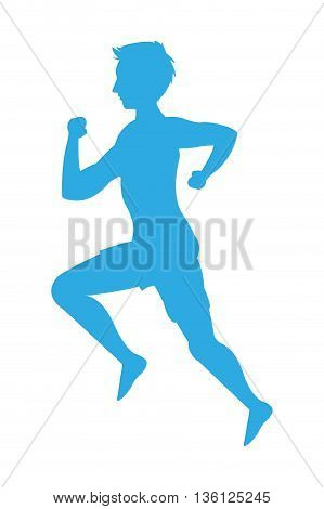 blue silhouette flat design man running icon vector illustration