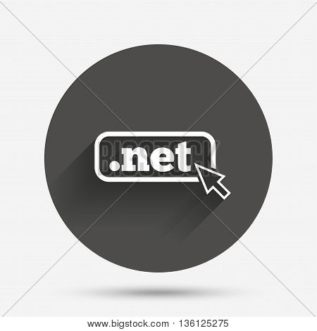 Domain NET sign icon. Top-level internet domain symbol with cursor pointer. Circle flat button with shadow. Vector