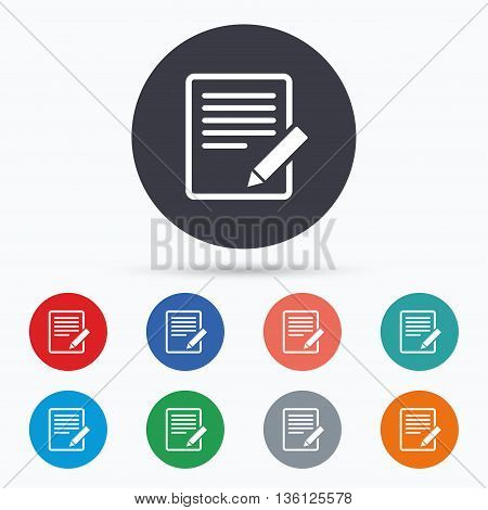 Edit document sign icon. Edit content button. Flat edit icon. Simple design edit symbol. Edit graphic element. Circle buttons with edit icon. Vector