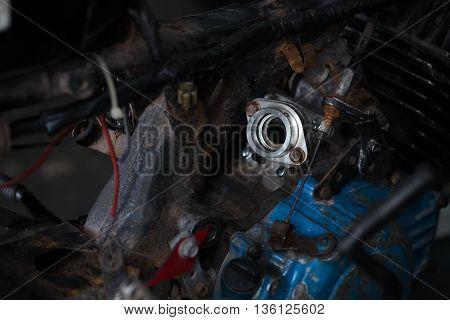 Details of Motorcycle engine repair in garage