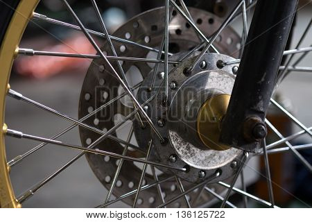 Motorcycle wheel details with brake and wheel spoke