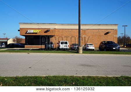 SHOREWOOD, ILLINOIS / UNITED STATES - AUGUST 30, 2015: One may eat sandwiches at the Subway restaurant in Naperville.