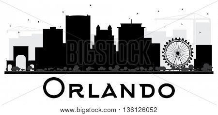 Orlando City skyline black and white silhouette. Simple flat concept for tourism presentation, banner, placard or web site. Cityscape with landmarks