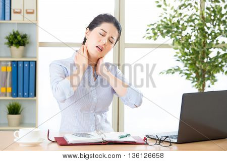Young Asian Business Woman With Pain In Neck