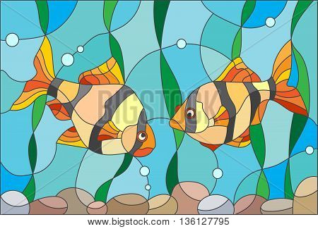 Illustration in stained glass style with a pair of barbs on the background of water and algae