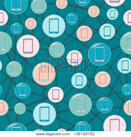 Seamless background on the topic mobile communications simple round icons and wires on a blue background