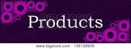 Products text written over purple pink background.