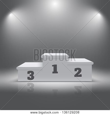 Illuminated realistic sport winners 3d podium. Pedestal for winners and alight pedestal isolated. Vector illustration