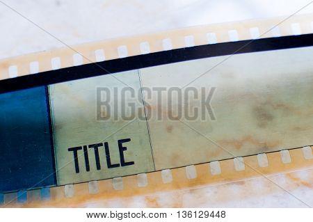 35 Mm Film Frame Title Label Close Up