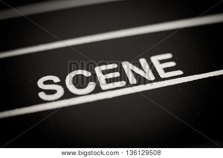 Scene Label On Movie Clapper Board