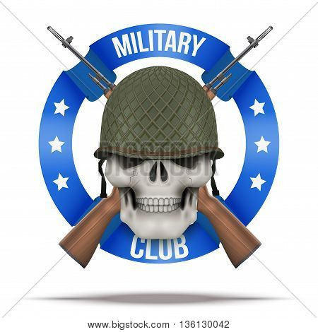 WWII Military club or company badges and labels. Skull and M14 rifles. Vector Illustration isolated on background.