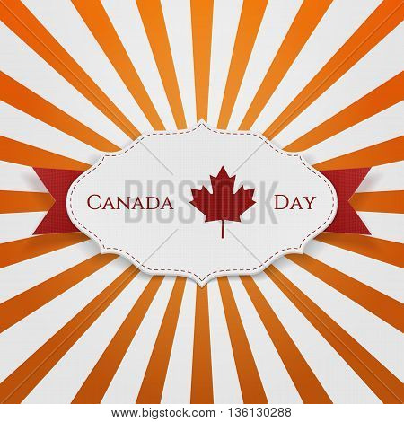 Canada Day Sign on realistic Emblem. Vector Illustration