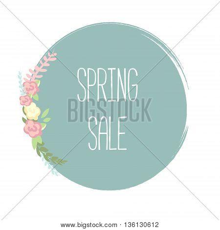Spring Sale Banner poster tag design. Vector illustration. Sale template.