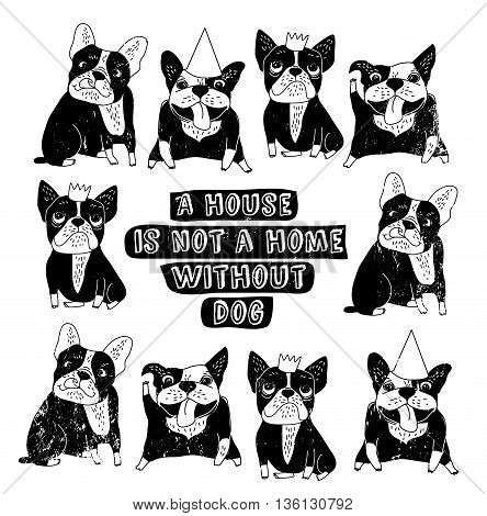 Dog French group bulldog happy home sign frame black and white poster. Monochrome vector illustration. EPS8