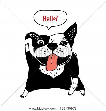 Welcome message hello happy dog object French bulldog greeting card . Color vector illustration. EPS8